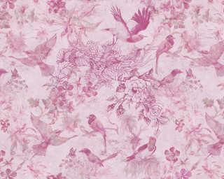 Fototapete «Birds and Flowers Pink» DD112716